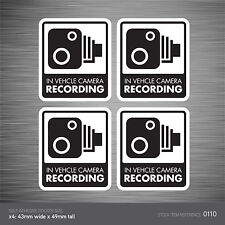 CCTV110 - Set Of 4 In Vehicle Camera Recording Car Sign Sticker - CCTV - Dashcam