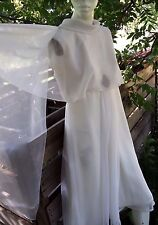 Elegant 1960s Vintage Mid Century Cocktail Dress White Womens Small Mid Calf VTG