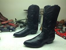 POINTY JUSTIN USA BLACK LEATHER LIZARD WESTERN COWBOY TRAIL BOSS BOOTS 11.5 D
