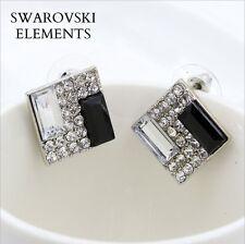 Boucles d'oreilles boutons  luxe Swarovski® Elements carrées noir et ARGENTE