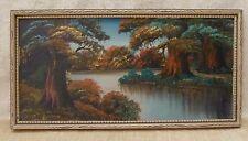 Original Oil Painting on Board Landscape Trees River Framed Artist Signed CAO