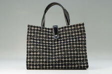 MINT Auth kate spade Handbag Tote Bag Black Canvas Leather Dots Free Ship 661k24