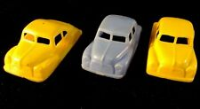 Vintage Sedan Plastic Cars Set Of 3 Acme Or Thomas Plastics 1940-50s Miniature