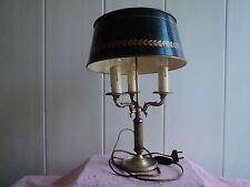 JOLIE ANCIENNE LAMPE BOUILLOTTE PIED BRONZE ABAT-JOUR TOLE