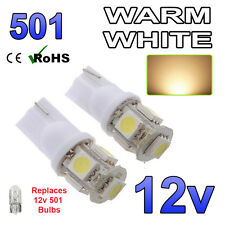 2 x Warm White 12v Capless Side Light 501 W5W 5 SMD T10 Bulbs Car Scooter Bike