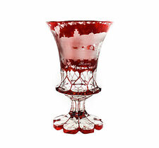 Bohemian German Intaglio Ruby Crystal Glass Water / Wine Goblet c.1920