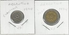 xx From Accumulation - 2 COINS from ARGENTINA - 5c & BI-METAL 1 PESO (BOTH 1994)