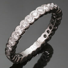 GRAFF Scallop Diamond 18k White Gold Eternity Band Ring Size 52