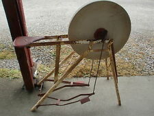 Antique Stone Grinding Wheel with Sit down Pedal Stand