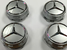 Mercedes AMG Style Alloy Wheel Centre Center Caps Silver Centre Lock Design 75mm