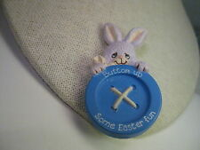 Vintage Easter Bunny Brooch Plastic Button up Some Easter Fun Morgan, Inc. 988,
