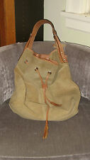 Nino Bossi Large Suede Leather Handbag Tote Duffle Hippie Boho