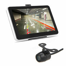 "7"" Touch Screen Car GPS Navigation Mirror Monitor +Rear View Backup Camera"