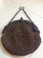 Antique Victorian Beaded Chatelaine Purse With Flowered Frame