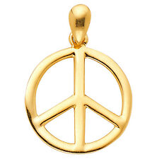 """14K Solid Yellow Gold 0.5gr Peace Sign Pendant Jewelry Charms for Necklace 5/8"""""""