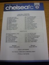 04/12/2010 Colour Teamsheet: Chelsea v Everton (folded). Any faults are noted in