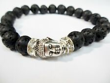 Lava Stone Fashion Bead Protection Good Lucky Luck Silver Buddha Bracelet Men's
