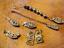 LOT STERLING SILVER FILIGREE VINTAGE VICTORIAN ART DECO JEWELRY FITTINGS CLASP