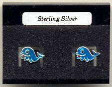 Dolphin Blue Enamel Sterling Silver 925 Studs Earrings Carded