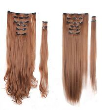 "17""-26"" 100% Real Human Hair Full Head Clip in Remy Hair Extensions Synthetic"