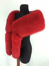 SAGA Furs! Fox Fur Stole - Boa. 55' Inches Length. Tails As Wristbands. Red