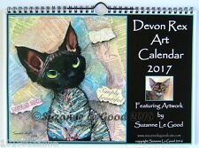 NEW - DEVON REX CAT ART PAINTING 2017 WALL CALENDAR BY SUZANNE LE GOOD
