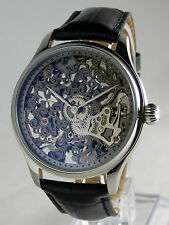 UNIQUE Montre squelette type UNITAS 6498 skeleton watch Skelettuhr Gun metal