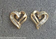 Two Tone White Yellow Gold Solid 10K Ribbon Heart Diamond Earrings Post Stud 2.3