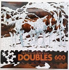 CEACO® 600pc DOUBLES™ • PINTOS / HORSES • 2 PIECES MAKE ONE • PUZZLE Jig Saw