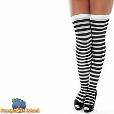 BLACK WHITE HALLOWEEN STRIPED STOCKINGS 10-14 womens ladies clothing accessory
