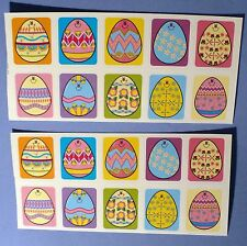 VINTAGE COLORED EASTER EGG'S SMILEY FACES 20 STICKERS 2 SHEET'S
