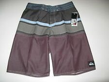 Quiksilver Boys 28 Surf Board Shorts Panel Stripe Youth Gray Blue Plum NWT