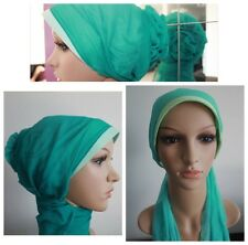 New Turban Rose Flower Hijab Instant Scarf Cap Bonnet Chemo Hat Green Turqouise