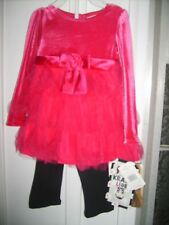 NWT Girl Christmas Pink Velour Legging Dress Outfit Pants 24M Youngland NEW $40