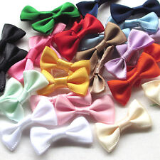 14/56PCS Satin Ribbon Flowers Bows Appliques Wedding Decor Lots Mix