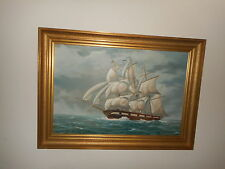 Large old oil painting,{ Three master on open sea, is signed, great frame! }.