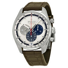 Zenith El Primero Chronograph Silver Dial Brown Leather Mens Watch