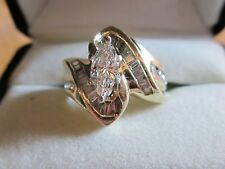 1TCW Marquise Diamond Engagement Ring 14K Solid Yellow Gold ADL Size 5 5.7grams