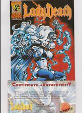 """1994 Wizard Chaos Comics """"Lady Death"""" Comic Book #1/2 W/COA and holder"""