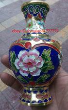 """5"""" China Chinese Palace Cloisonne Enamel Copper Peony Flowers Small Bottle Vase"""