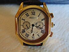 Stauer 43mm Meisterzeit  Automatic High Polished 18K Gold Fused SS Watch L@@K!!!