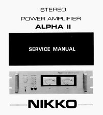 NIKKO ALPHA - II Power Amplifier  Service Manual