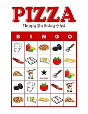 Pizza Party Personalized Birthday Party Game Bingo Game Activity Bingo Cards