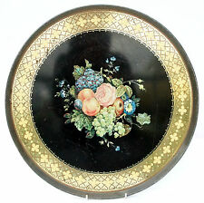 Vintage Large Black Gold Floral Fruit Tea Tray