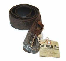 Ralph Lauren Double RL RRL Mens Vintage Western Tooled Leather Belt Brown USA 30
