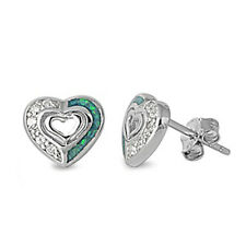 BRAND NEW! Russian CZ & Blue Australian Opal Heart .925 Sterling Silver Earrings