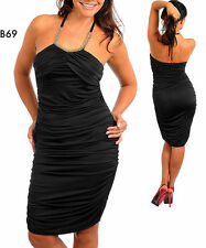 B69 Womens Black Size 14/16 Cocktail Clubwear Party Halter Ruched Dress Plus