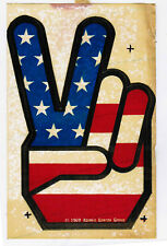 Old Window Sticker Decal 1969 Atomic Energy American Flag Peace Sign Victory