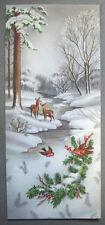 Deer birds by stream in woods Christmas Vintage Greeting Card *P