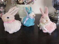 SET OF 3 CUTE COTTONTAIL EASTER BUNNY RABBIT STRAW SISAL FIBER HOME DECOR NEW